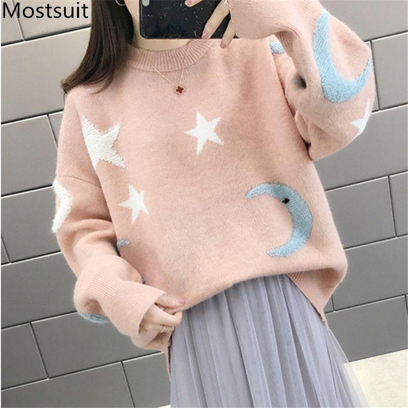 2019 Herbst-Winter-Strick-Pullover in Übergröße Pullover Frauen Langarm-O-Ansatz beiläufige lose Art und Weise Kawaii Pullover Tops Blaus