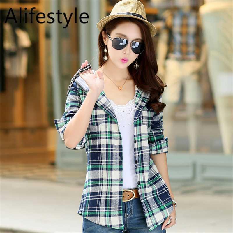 여성 후드 체크 셔츠 여성 순수한면 긴 소매 블라우스는 소녀 패션 봄 탑 / 블라우스 가을