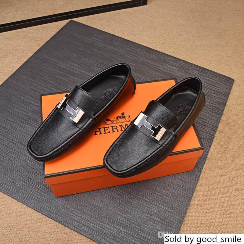 París H diseñador del vestido Negro de piel mocasines de Slip Caballero de boda Zapatos Oxford