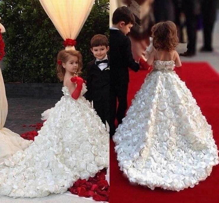 Neue reizende Blumenmädchen Kleider Ballkleid Kinder Pincess Pageant Hochzeit Brautjungfer Kinder Kleid GHYTZ18