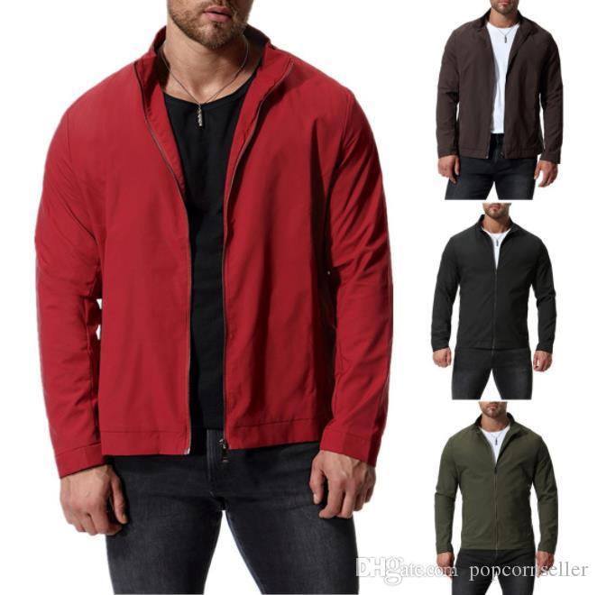 Plus Size Mens Designer Casacos Primavera Fashoin gola cor pura manga comprida finos Casacos Roupa Mens