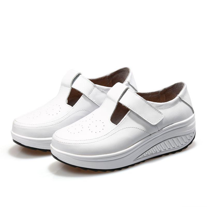 Hot Sale-Height Increasing Shoes Women Ladies Full-grain Leather Swing Wedge Sneakers Shoes Slimming Walking Sports Shoes