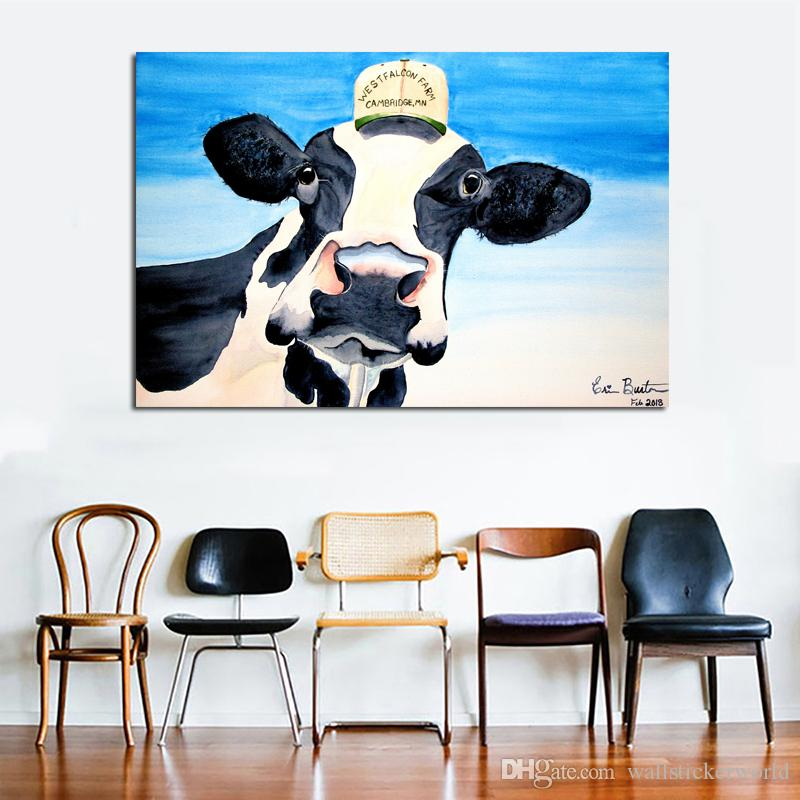 1 Piece Cute Cow With Hat Wall Decorative Pictures Prints And Posters Canvas Painting For Living Room Home Decor Wall Art No Frame