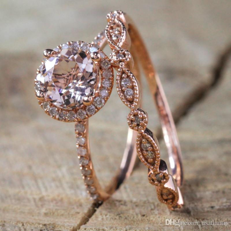 Cubic Zironic Ring Set Rose Gold Crystal Ring Combine Rings Engagement Ring Women Fashion Jewelry Valentine Gift Will and Sandy Drop Ship