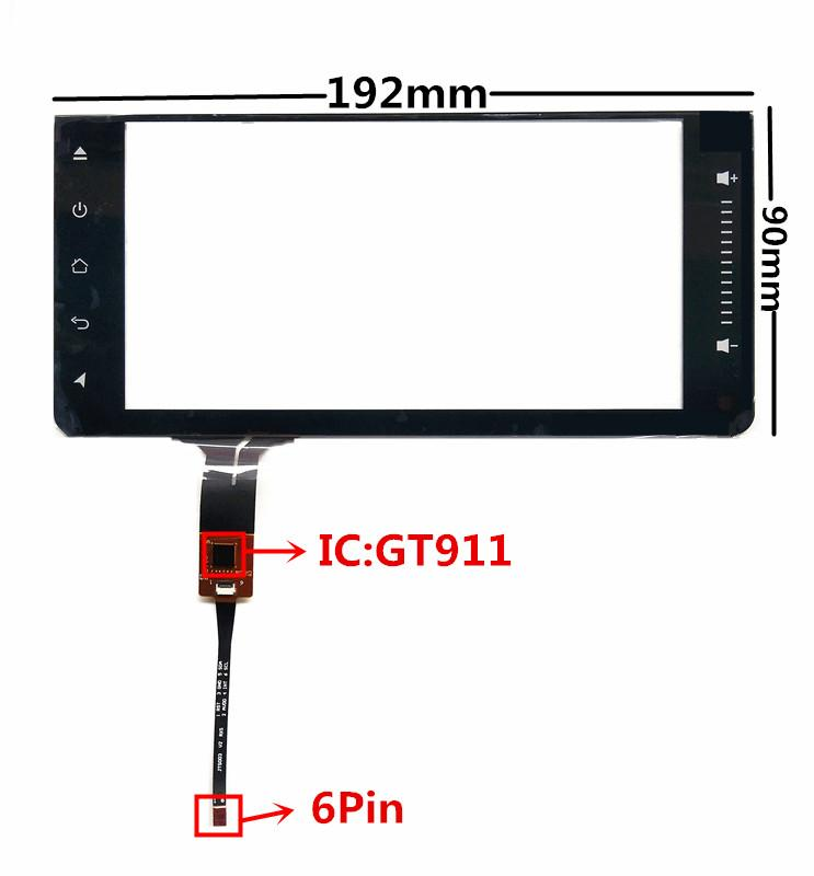 6.95 inch JTS-218-695 GT911 Capacitive Touch Digitizer for Toyota Car DVD GPS navigation multimedia Touch screen panel Glass
