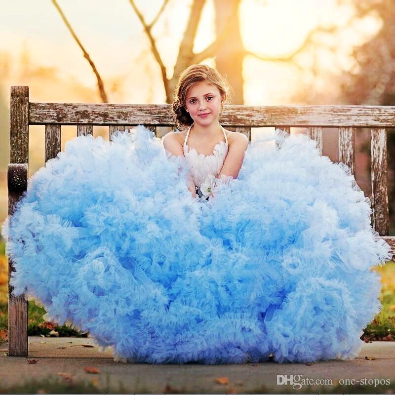 Luxo céu azul vestido de baile Vestidos menina do laço do vintage Appliqued menina formal do partido Pageant Vestidos Vestido de casamento de aniversário