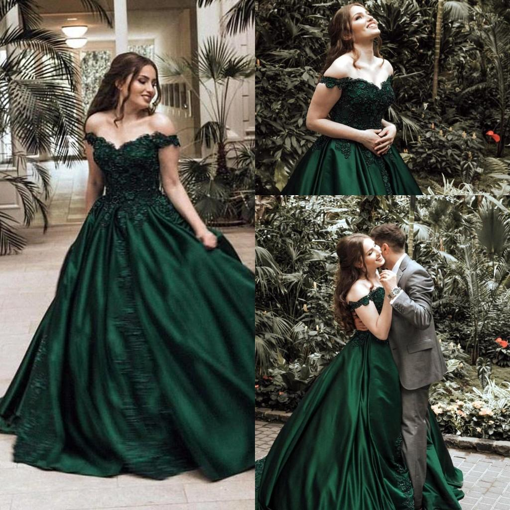Vintage Dark Green Ball Gown Evening Dresses Formal Elegant Off Shoulders Appliqued Sequined Satin Long Pageant Prom Gowns CG01