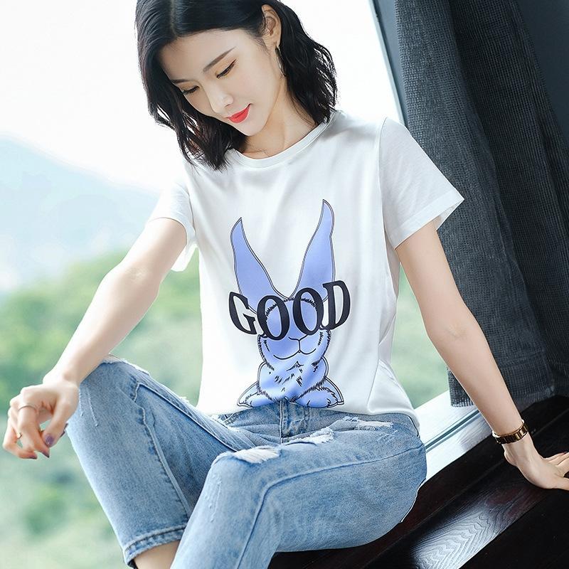 camisa de seda camiseta corta temperamento shirtmulberry CiIIo manga corta de dibujos animados T- sencilla de seda de mujer delgada elástica