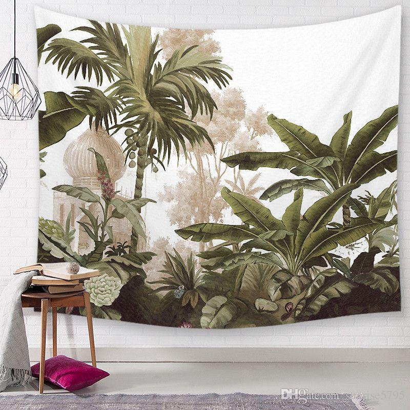 빈티지 열대 태피스트리 파미 나무 벽에 매달려 장식 바나나 잎 벽화 정글 열대 우림 tenture 장식 천으로 잎