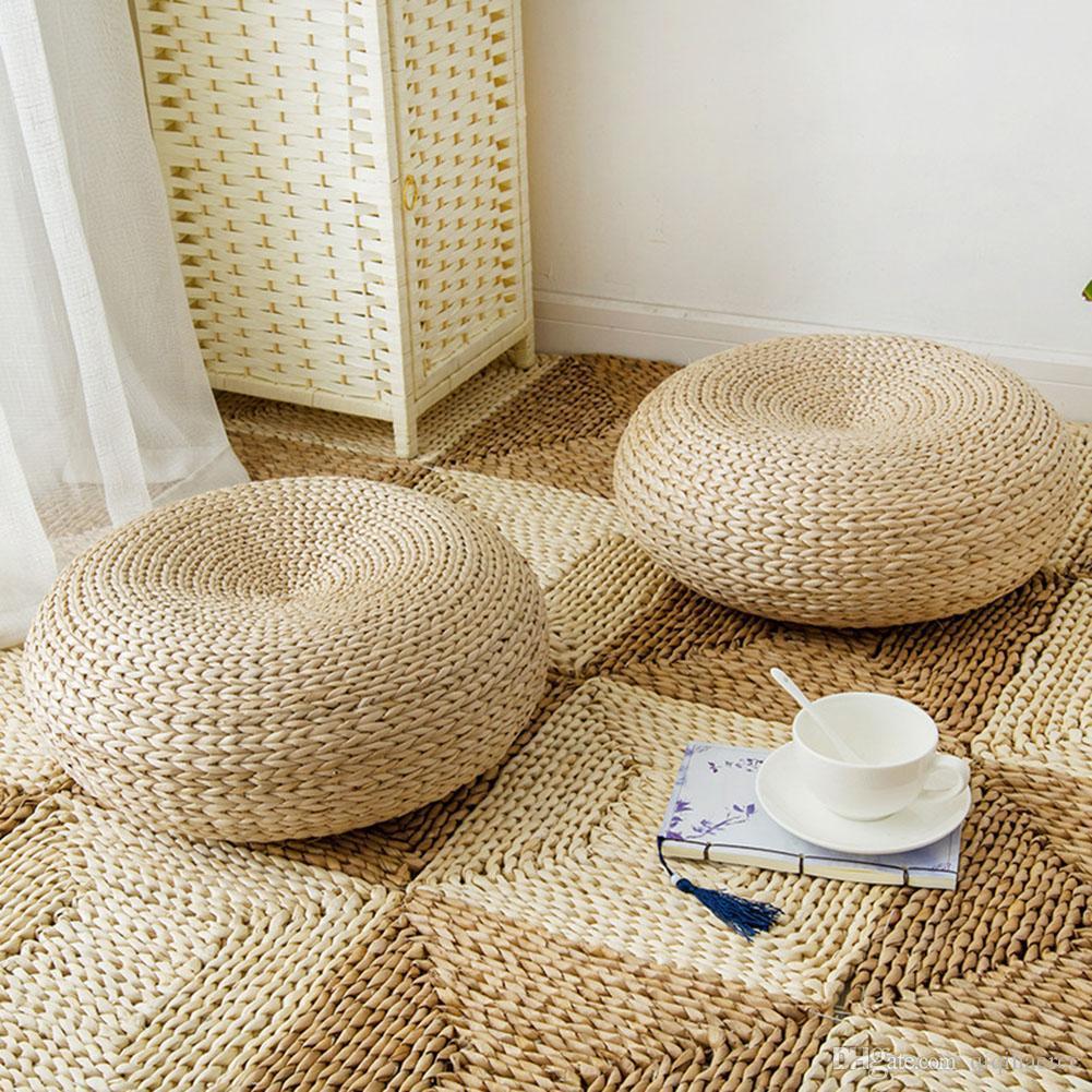 Nouvelle Tatami main Weave ronde Straw Thicken Coussin Chaise fenêtre Tapis ronde Mat Assis Coussin de méditation Home Décor