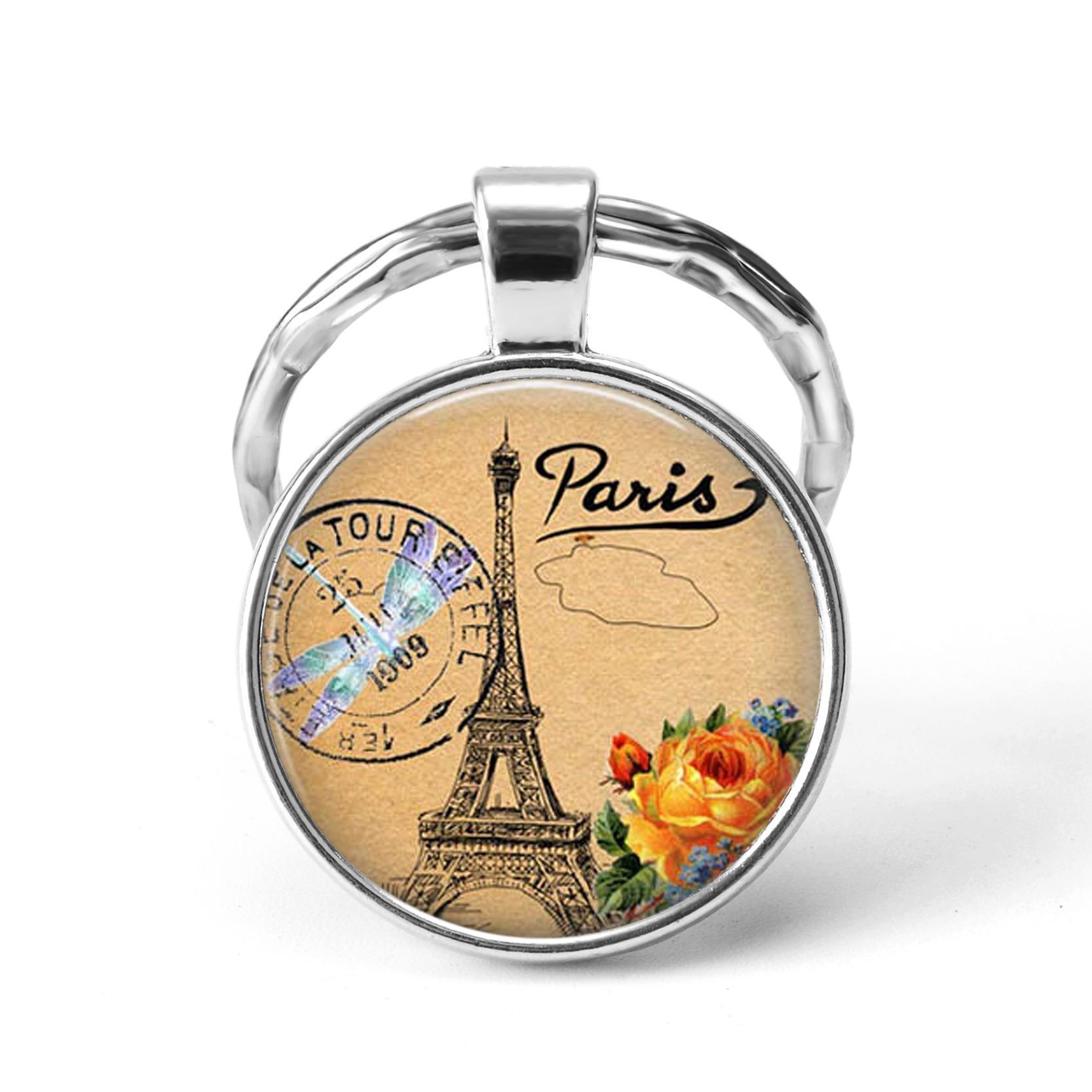 Mode Paris Porte-clés Tour Eiffel Cathédrale Notre-Dame Versailles Louvre qu'image en verre pendentif porte-métal