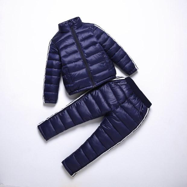BINIDUCKLING 소년 소녀 스포츠웨어 세트 어린이 따뜻한 코트 다운 재킷 + 바지 재킷 스키 복 소년 아동 겨울 의류