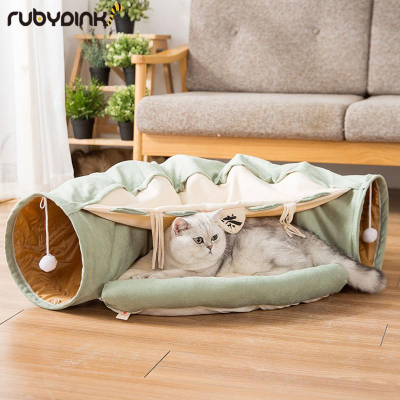 مضحك القط نفق سرير قابل للانهيار التجعيد الحيوانات الأليفة خيمة هريرة جرو النموس الأرنب التفاعلية ألعاب 2 الثقوب نفق الحيوانات الأليفة القط عش T200229