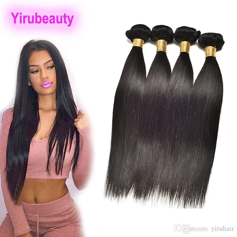 الهندي العذراء ملحقات الشعر 4 أو 5 حزم جسم موجة مستقيم الشعر ملحقات الإنسان 3 حزم مزدوجة لحمة 8-30inch اللون الطبيعي