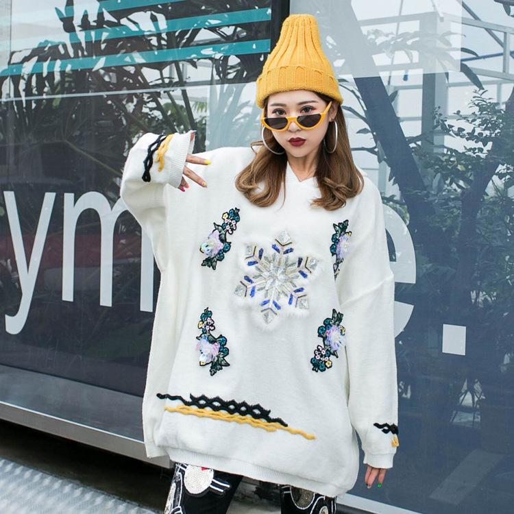 Thailand Tide Marke koreanische Version des neuen schweren Arbeit Perlen Pailletten Pullover Herbst und Winter mit Kapuze Persönlichkeit Hemd