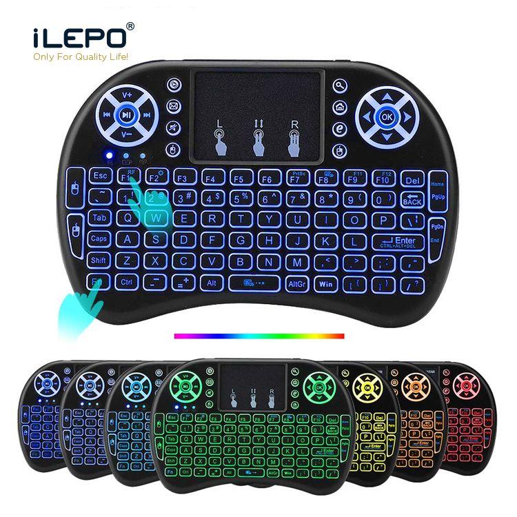 Tablet PC, akıllı TV için Klavye Çok Renkli Arkadan aydınlatmalı RII i8 2.4G Kablosuz klavyeler Mini Android TV Box Uzaktan Kumanda Hava Fare ve klavye