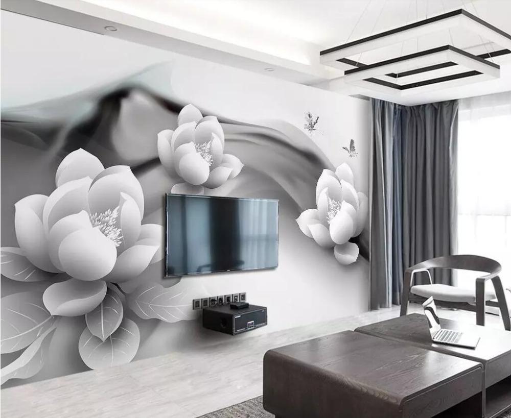Beibehang 벽지 벽화 흑백 잉크 연꽃 나비 간단한 3D TV의 배경 벽지 홈 장식 3D 배경 화면
