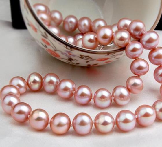 Collana di perle di lavanda del mare del sud di 9-10mm con accessori in oro 14 kt da 18 pollici