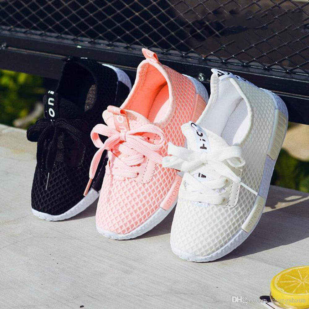 Детская обувь Мальчики Девочки Повседневная Mesh кроссовки дышащий Soft Soled Бег Спортивная обувь