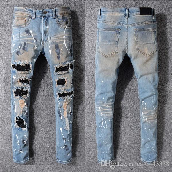 Calças de brim dos homens da moda Pista de corrida Magro Racer Biker Jeans # 1135 Hiphop Skinny Men Denim Ripped Basculadores Pants Masculino Wrinkle Jean Calças