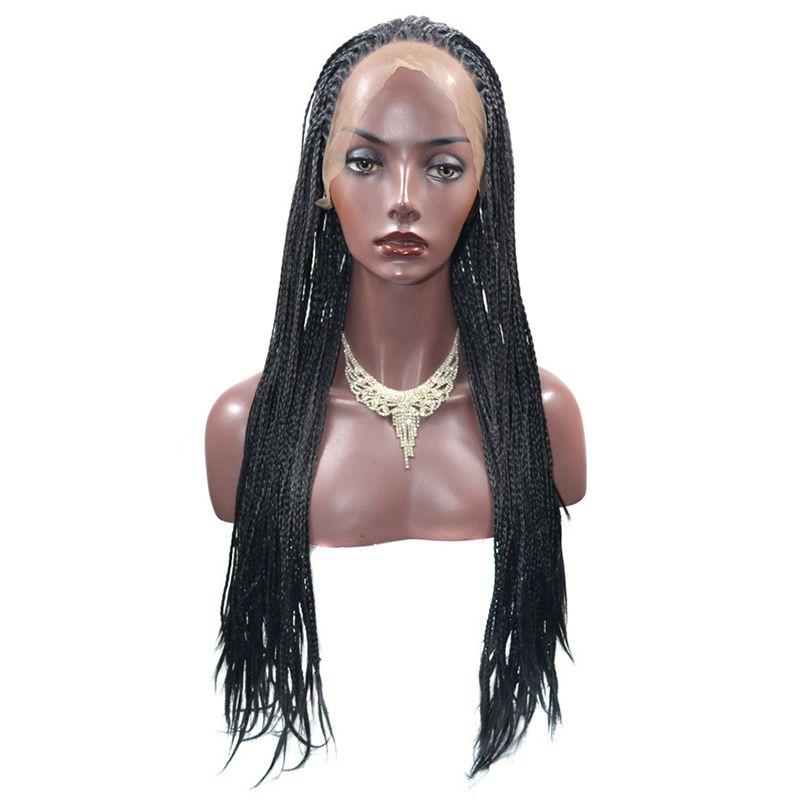 Натуральный черный плетеный кружева передние парики длинные косы парики 18-24 дюймов Glueless синтетические кружева передние парики для чернокожих женщин жаропрочных волокна