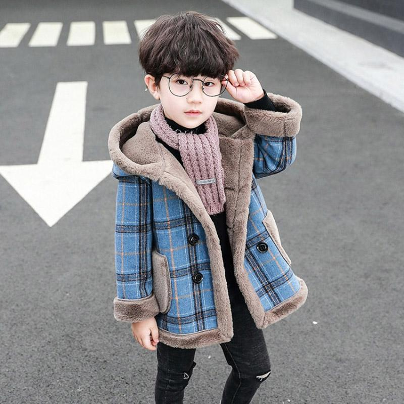 أزياء الأطفال المخملية الستر الدفء مقنع معطف فضفاض الشتاء الطويلة بنين ملابس اطفال الصوفية المعطف - سنون قديم