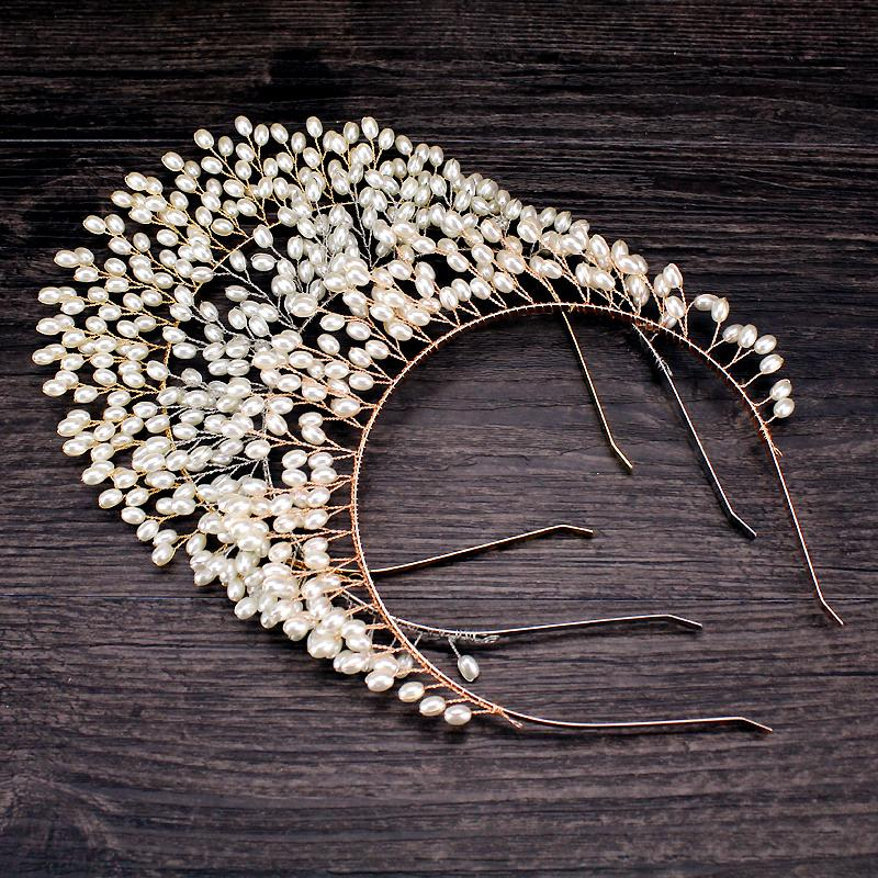 Rose Gold Silber Handmade Perlen Kronen und Tiaras Stirnband Frauen Kopfschmuck Brauthaar-Rebe Haarreif für Hochzeit Schmuck-Party