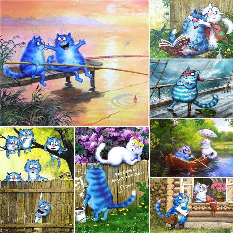 Акрил Картина Числа Животных Cat Canvas Картинка Diy Drawing Краски по количеству Домашнего украшение стены искусство ручной росписи