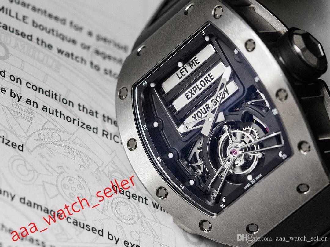 3 цвета высшего качества мужские роскоши часы RM69 эротические турбийон SS316L WatchCase Miyota Miyota Meanical автоматическое движение резиновые резиновые наручные часы