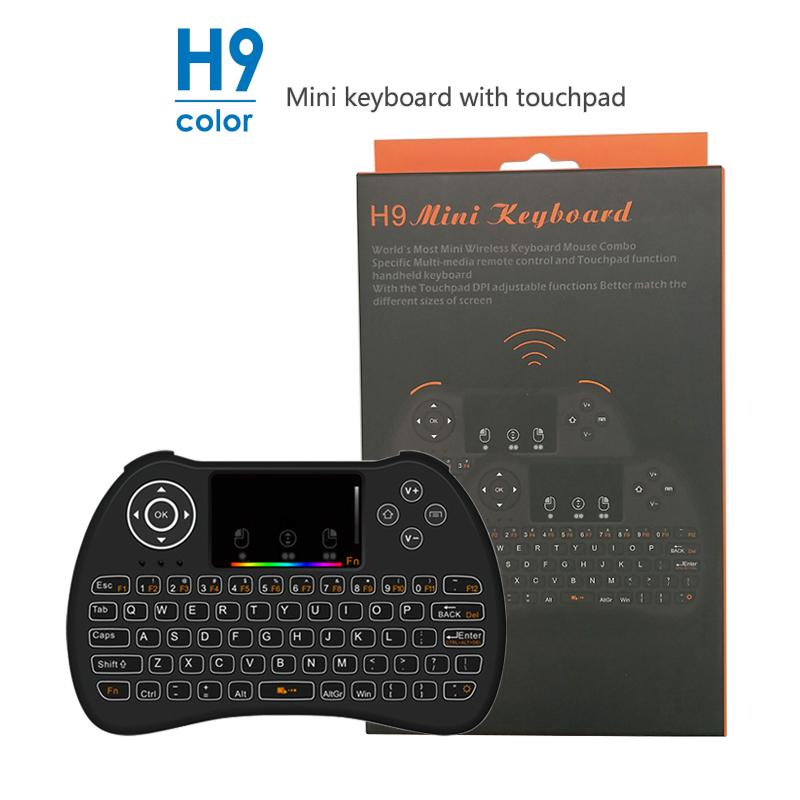 H9 Color Backlit Wireless mini Keyboard QWERTY 2.4GHz Remote control Handheld Support multi-touch for Android TV Box PC Better