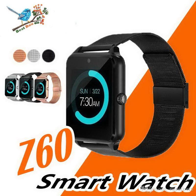 Bluetooth Smart Watch Téléphone Z60 Support En Acier Inoxydable Carte SIM TF Carte Caméra Fitness Tracker GT08 GT09 DZ09 A1 V8 Smartwatch pour IOS Android