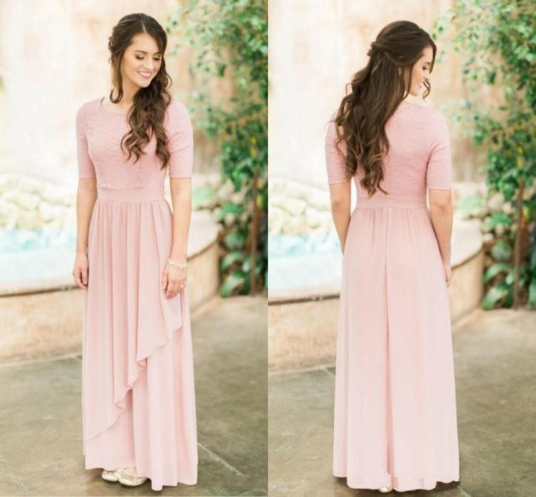 Rose modestos largo y polvoriento Dama de honor con medias mangas gasa de encaje boda del país damas de honor vestidos Boho Manga por encargo