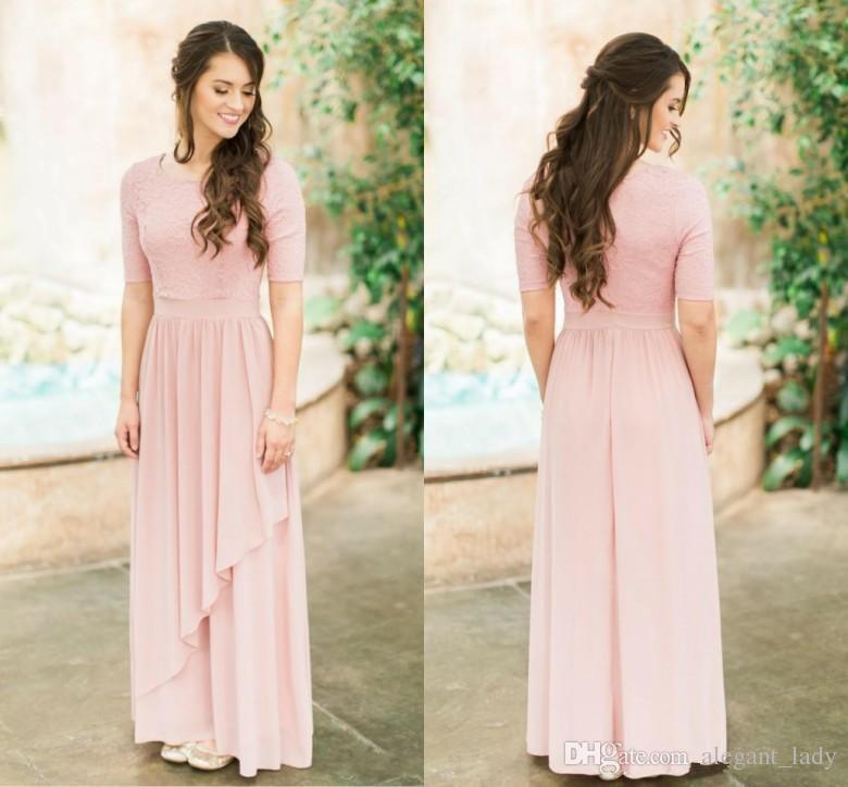 Скромные розовые пыльные длинные платья подружки невесты с половиной рукава кружева шифон страна свадьба невесты платья boho рукава