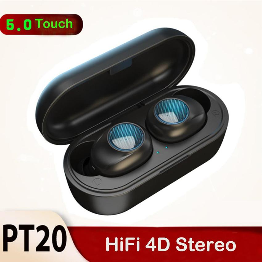 PT20 TWS Bluetooth 5.0 Earphone Touch Hifi 4D Stereo Wireless Earbuds Mini Sports Headset Noise Cancelling Gaming Headphones