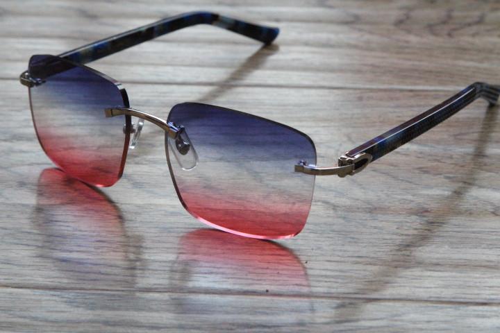 Free Shipping Hot Marble Blue Aztec Rimless 8200816 designer Blue Aztec Arms Sunglasses popular Men or Woman Unisex glasses