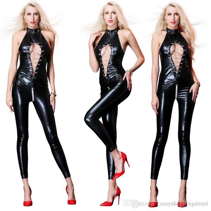 Hot Sexy Lady Preto Catsuits De Látex De Couro Baixo Corte Com Zíper Virilha Aberta Elástico Wetlook PU Collant Bodysuit Bar Clubwear