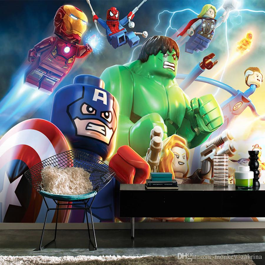 Avengers Wallpaper Iron Man Captain America Hulk 3D Wall Mural Wall Covering For Bedroom Living Room Sofa TV Background Rolls Cars Wallpaper Cars