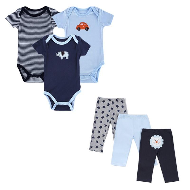 Cartes Style Summer Infant vestiti del bambino Set di abbigliamento Boy manica corta di cotone del fumetto 3 Imposta neonato maschio abbigliamento poco Bambini