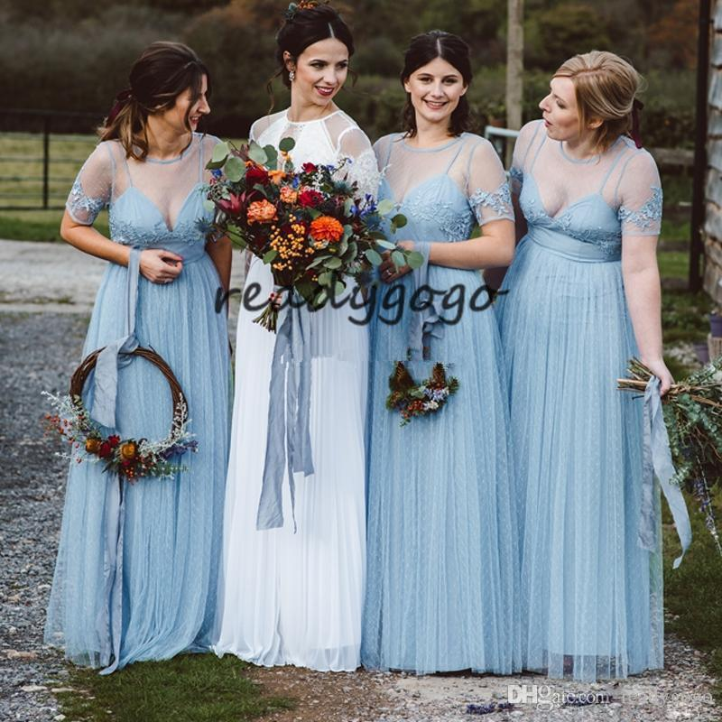 Ice Blue Long Bohemian Country Bridesmaid Dresses 2019 Sheer Neck Lace Tulle Short Sleeve Junior Wedding Party Guest Gown