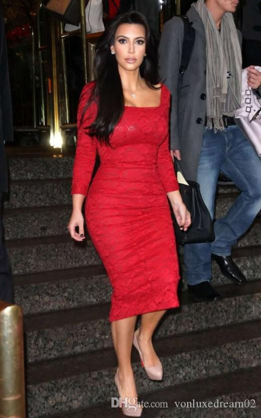 Kim Kardashian Red Lace Cocktail Party Dress Long Sleeves Full Lace Sheath Tea Length Ladies Fomal Occassion Gowns Custom Size