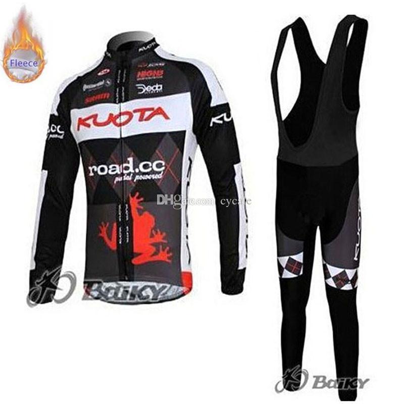 KUOTA team Winter Mens Long Sleeve Thermal Fleece Cycling Jersey Bib Pants sets Cycle Clothing Maillot Ropa Ciclismo