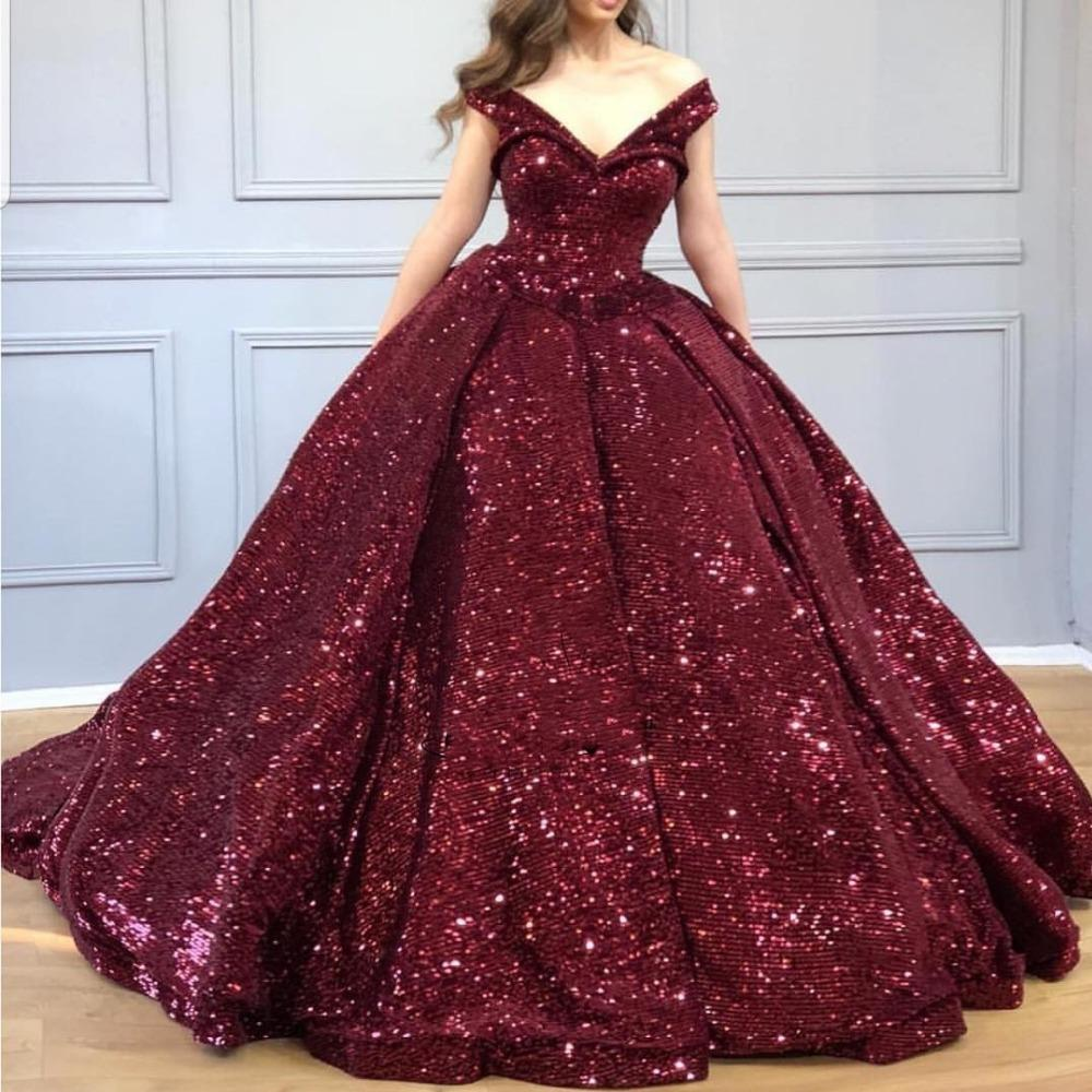 2020 Sexy Elegant Woman Plus Size Burgundy Sequined Prom Dresses Long Arabic Evening Gowns Formal Party Gala Dress Ball Gown
