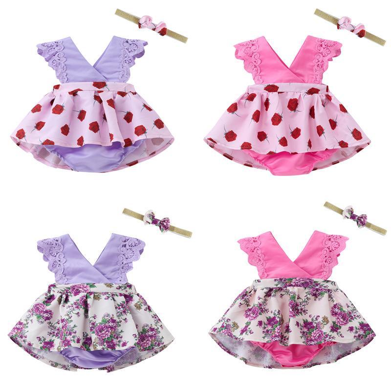 """فتيات """"رومبر"""" يرتدون ملابس أطفال أطفال مجموعة أطفال """"زهرة رباط"""" و """"بوكنوت ربطية الرأس"""" 2pcs / set Printed Romper Kids Summer Dresses M1643"""