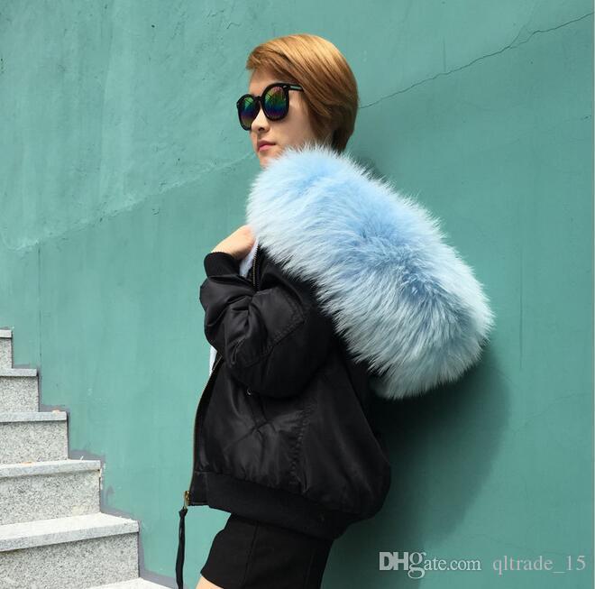 Nylon bomber jackets Meifeng light blue raccoon fur trim female snow coat light blue rabbit fur lined black bomber mini parka