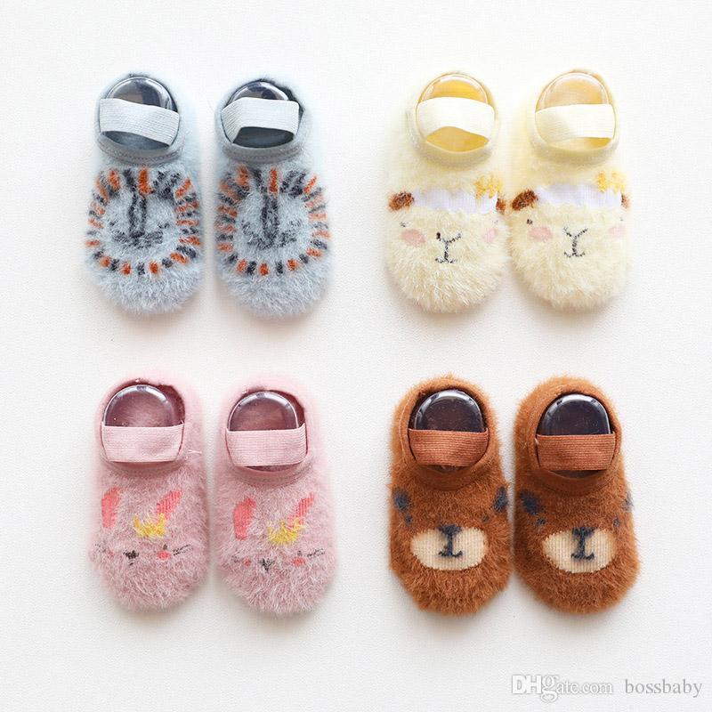 Baby-Karikatur-Fußboden-Socken-neugeborene Baby-Anti-Rutsch-Socken Kleinkind Mädchen Jungen Tier Short Schlauch Mink Lace Socks 06