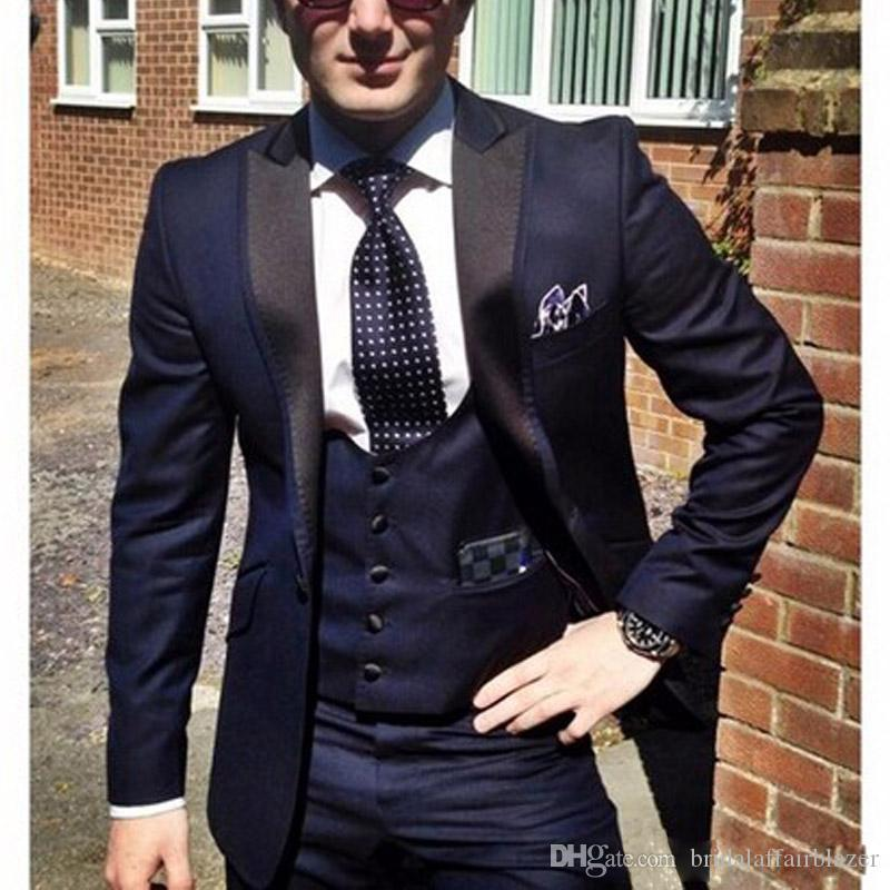 2019 Cheap Navy Blue Groom Tuxedos for Wedding Wear 2018 Peaked Lapel One Button Custom Made Business Men Suits Jacket +Vest + Pants