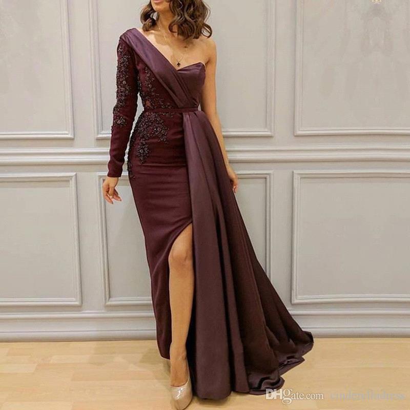 Арабский Мириам Фарес Сплит Боковые выпускные платья 2020 Lace одно плечо линия Burgundy моды вечерние платья BC1054