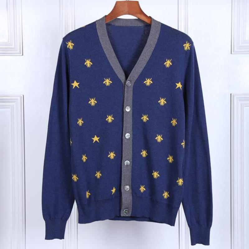 New Man Winter Sweaters Fashion Embroidered Animal Star Sweaters Casual Cardigan V-neck Young Sweater Tops Size M-2XL