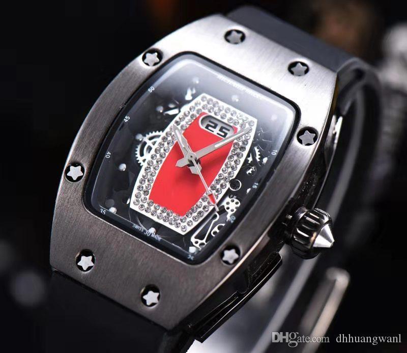 роскошные часы часы моды известный Skeleton Часы женщин Skull спорта кварца Резина Алмазный диск черный каучуковый Lady часы