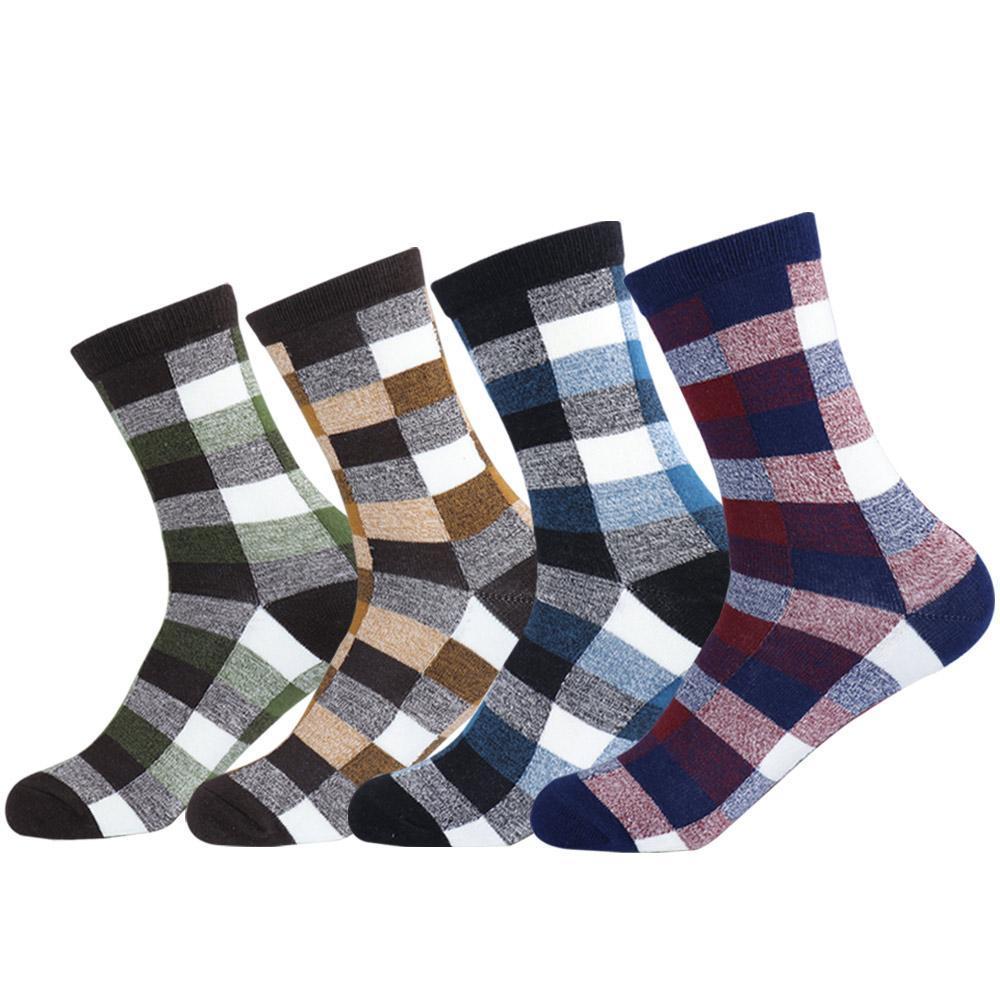 Erkek Günlük Tarak Pamuk Elbise Çorap Vintage Erkekler Renkli İngiltere Çekler Izgara Ekose Casual Ekip Çorap
